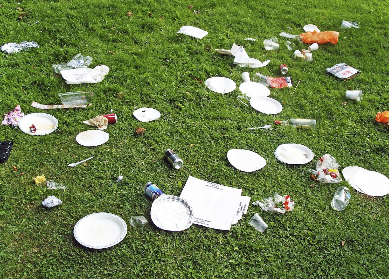 A lawn strewn with garbage