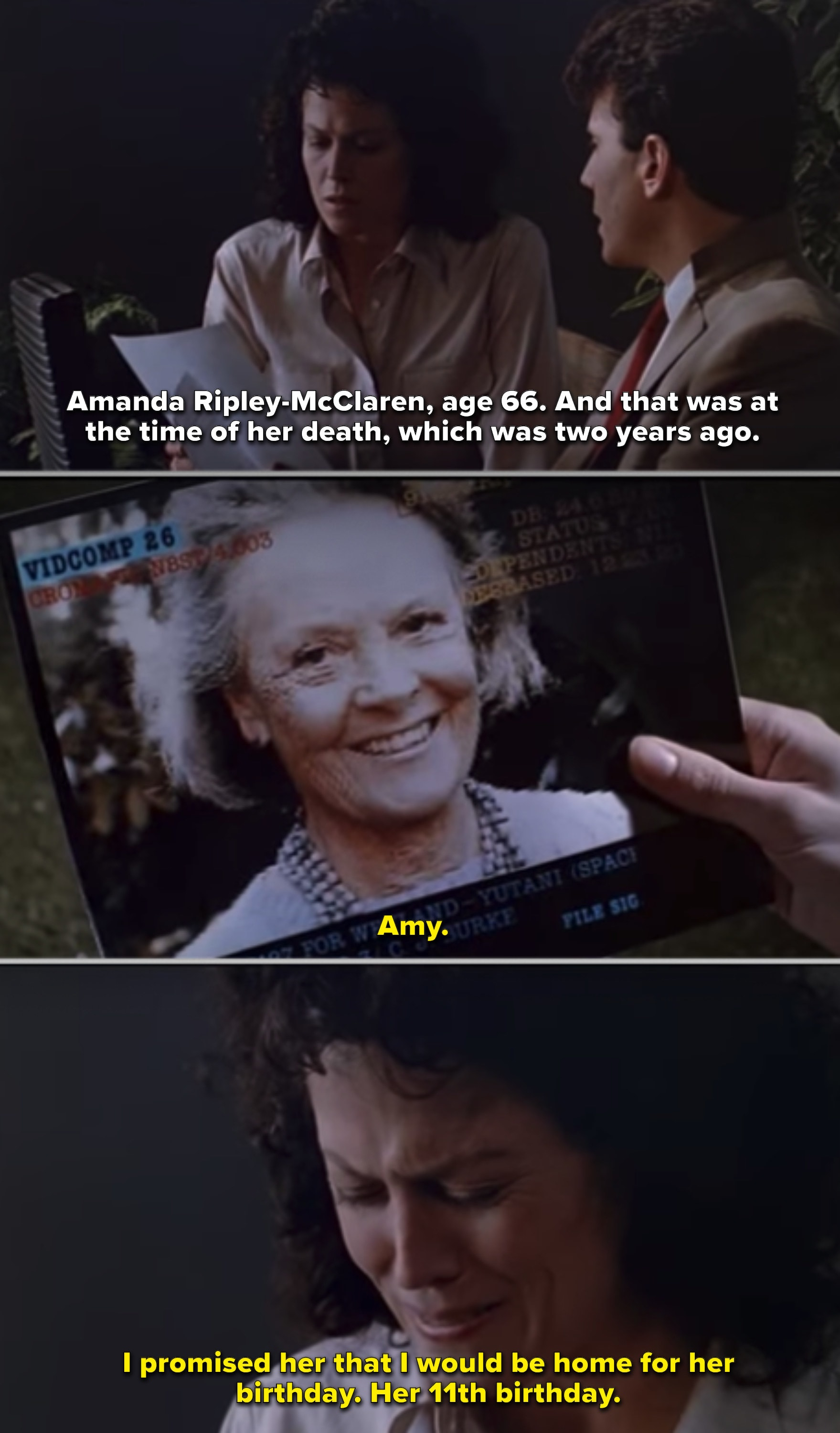 Ripley looking at a picture of her daughter as an old woman
