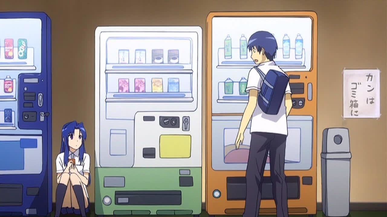 Two anime characters standing and sitting near vending machines