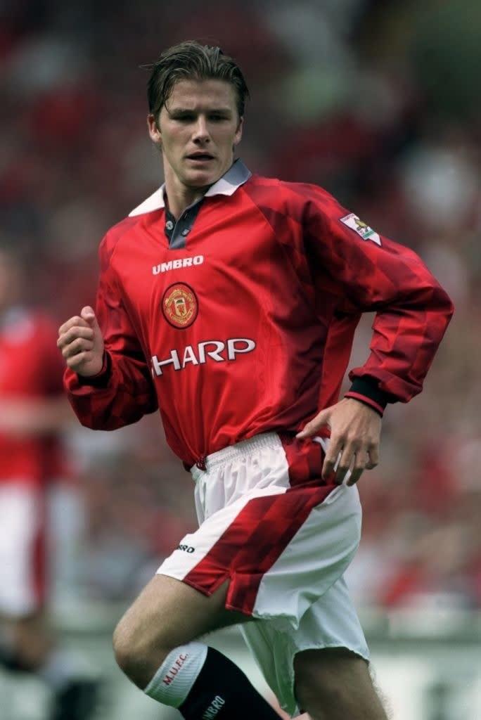 David Beckham jogando pro manchester united