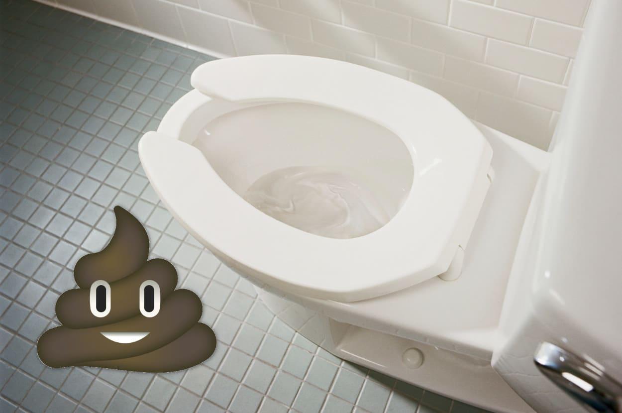 poop emoji next to a toilet