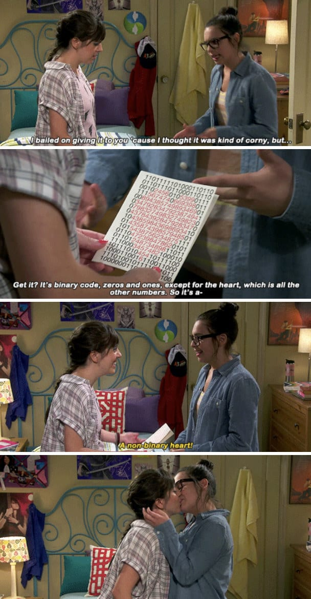 """Elena giving Syd a non-binary Valentine's Day card: """"Get it? It's binary code, zeros and ones, except for the heart, which is all the other numbers"""""""