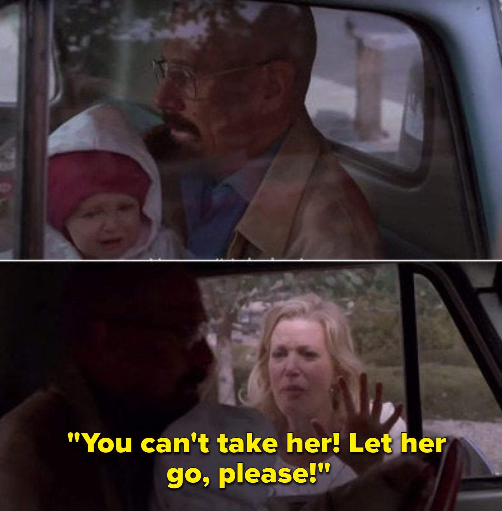 Walter about to drive off with his baby sitting on his lap while Skyler is outside banging on the window begging him not to take the baby