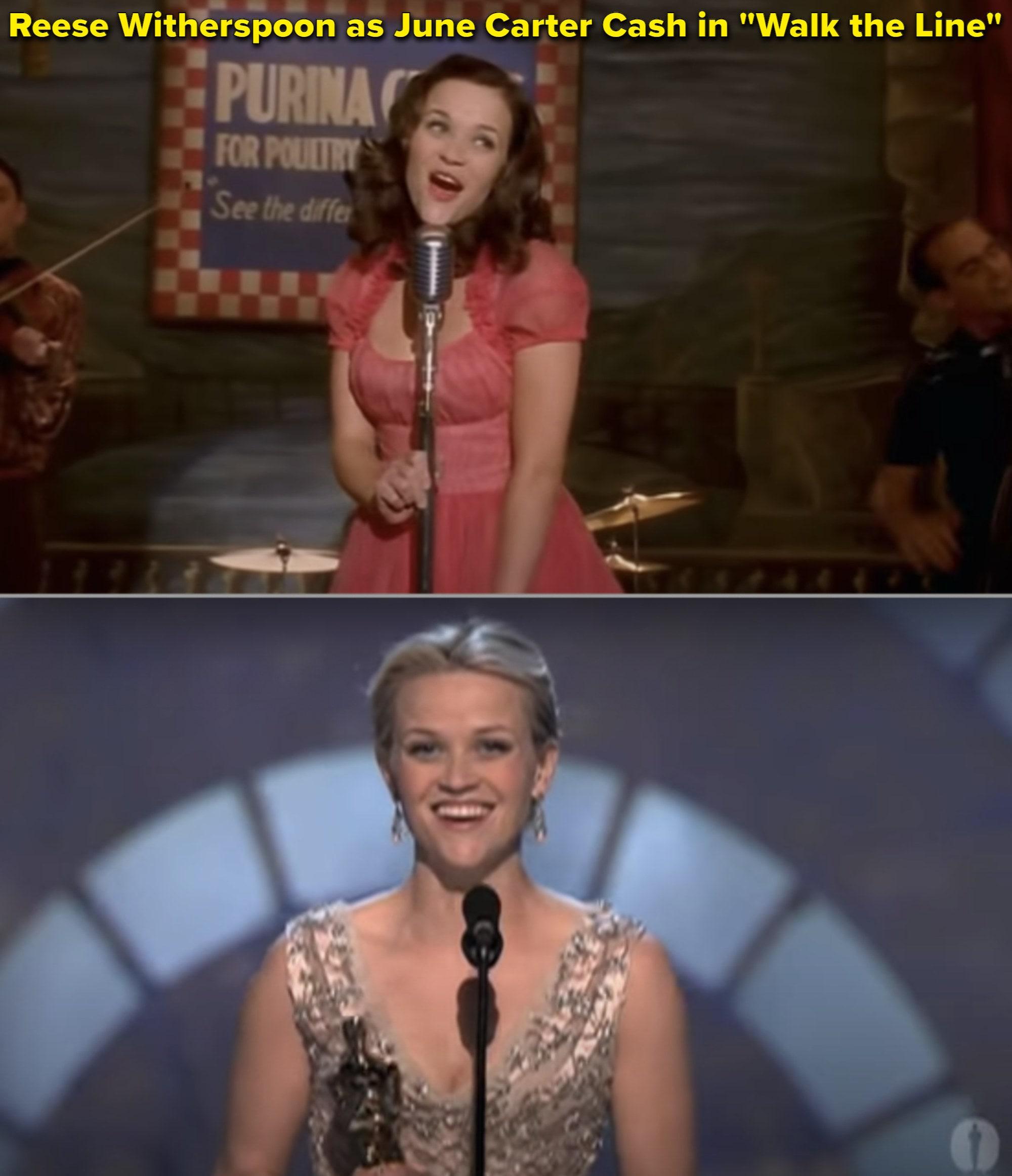 Reese em 'Johnny & June' e no palco agradecendo pelo Oscar