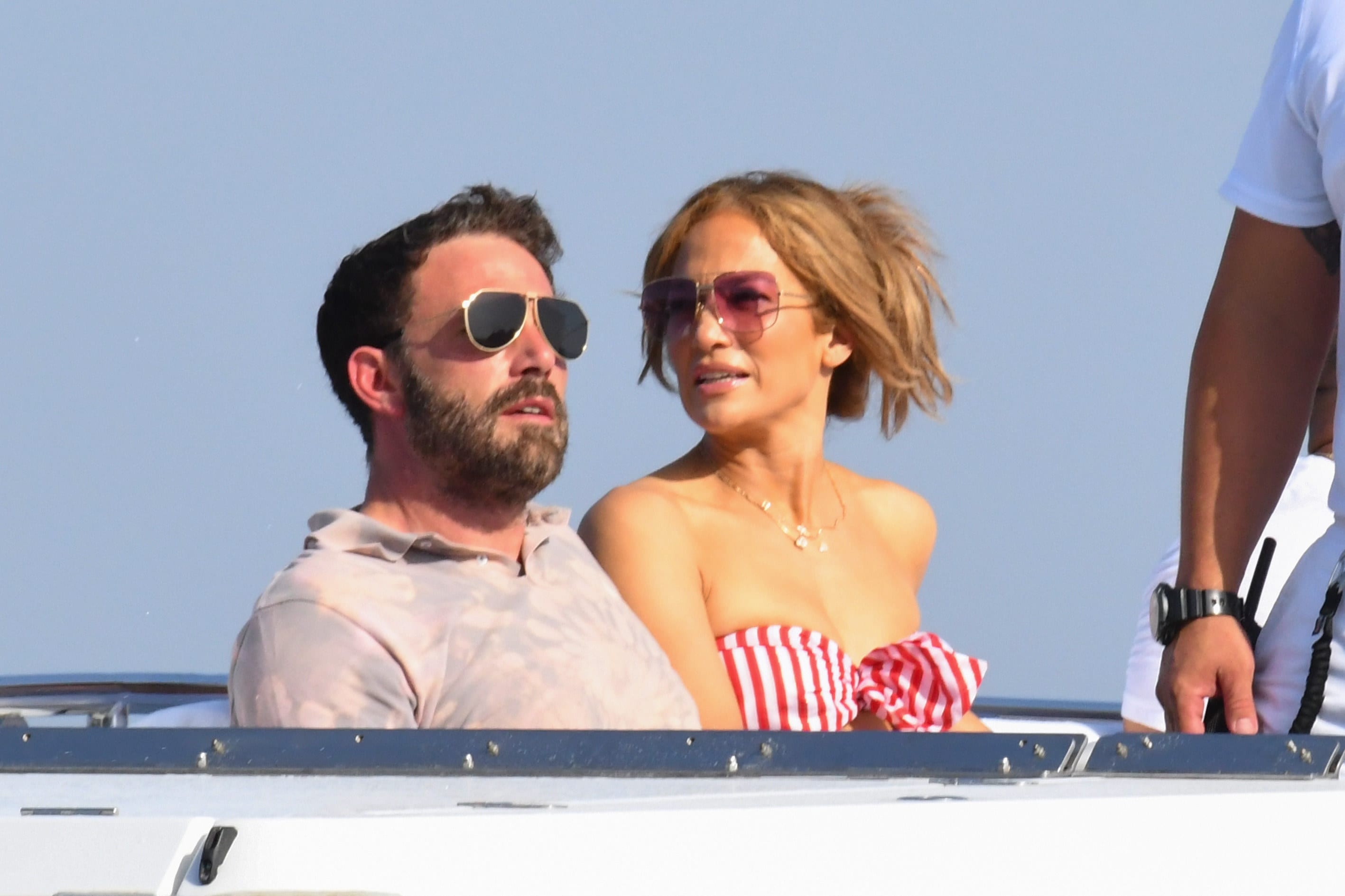 with ben affleck on a yacht