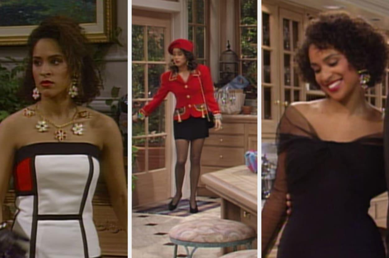 Um montagem com três imagens de uma mulher negra, com cabelos cacheados. Na primeira ela veste um vestido Mondrian, na segunda ela veste um terno vermelho e saia preta, na terceira ela veste um vestido preto com mangas de tule.