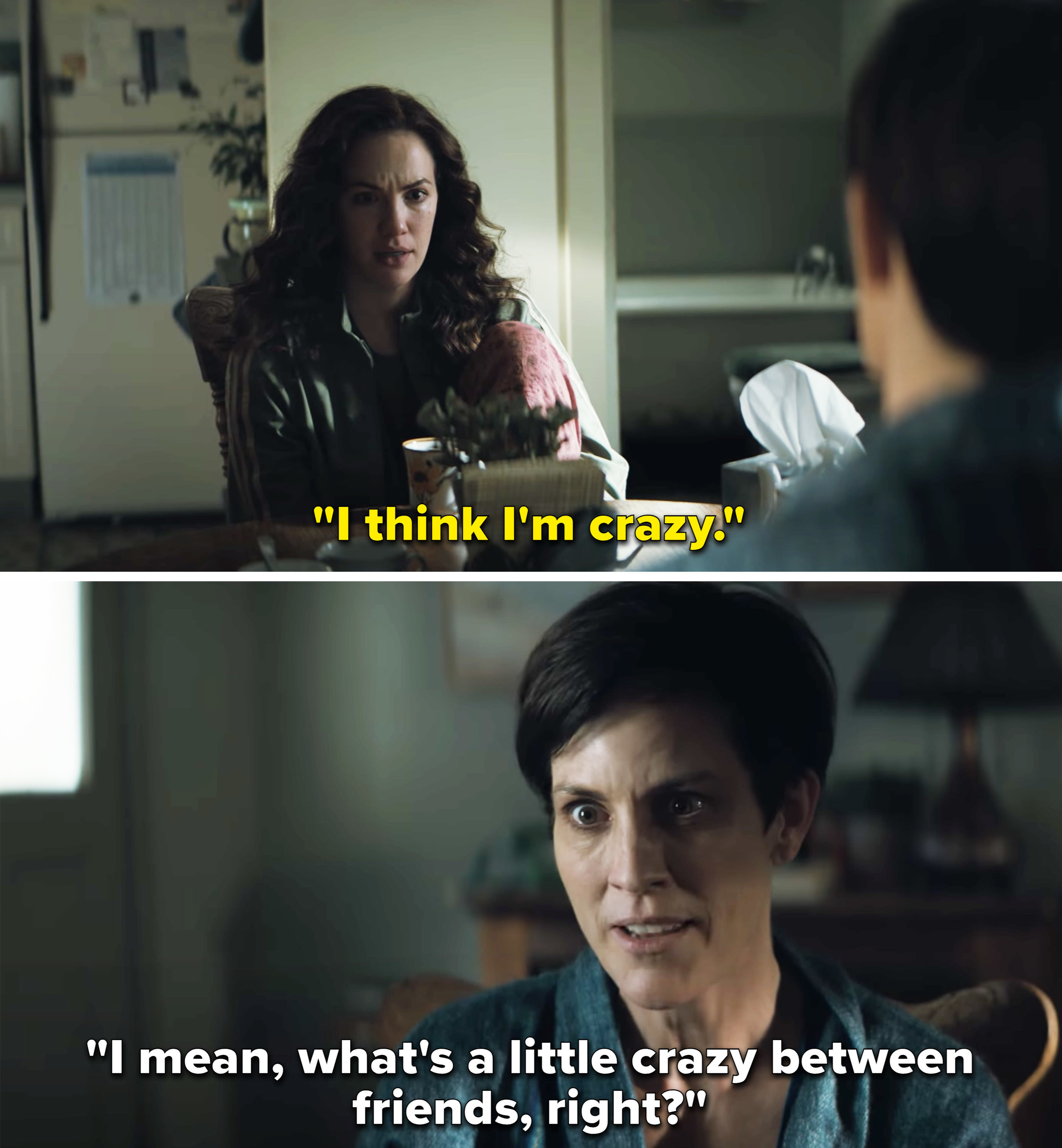 Two people discussing how one thinks she's crazy