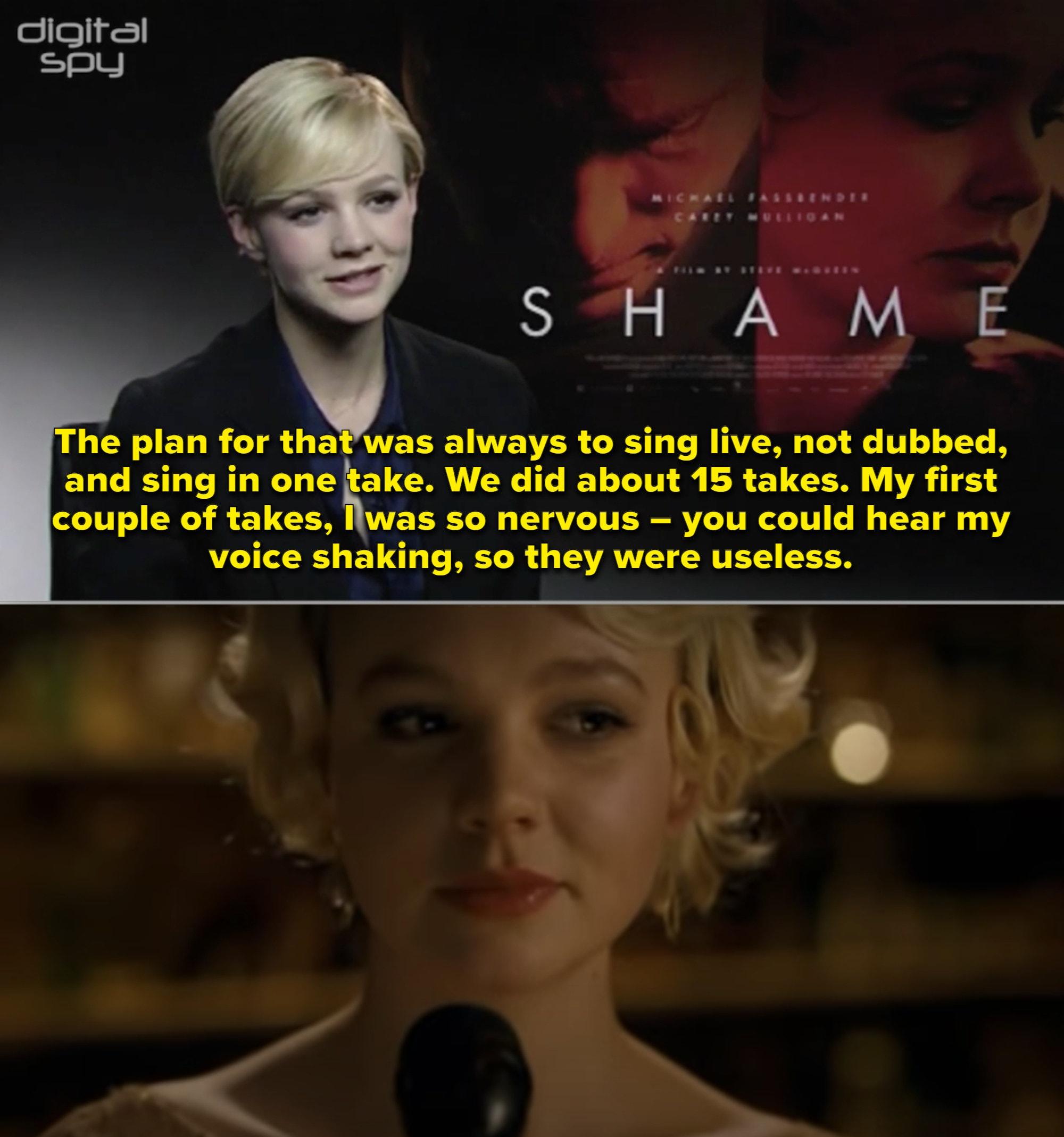 """Carey Mulligan cantando num bar no filme """"Shame"""""""