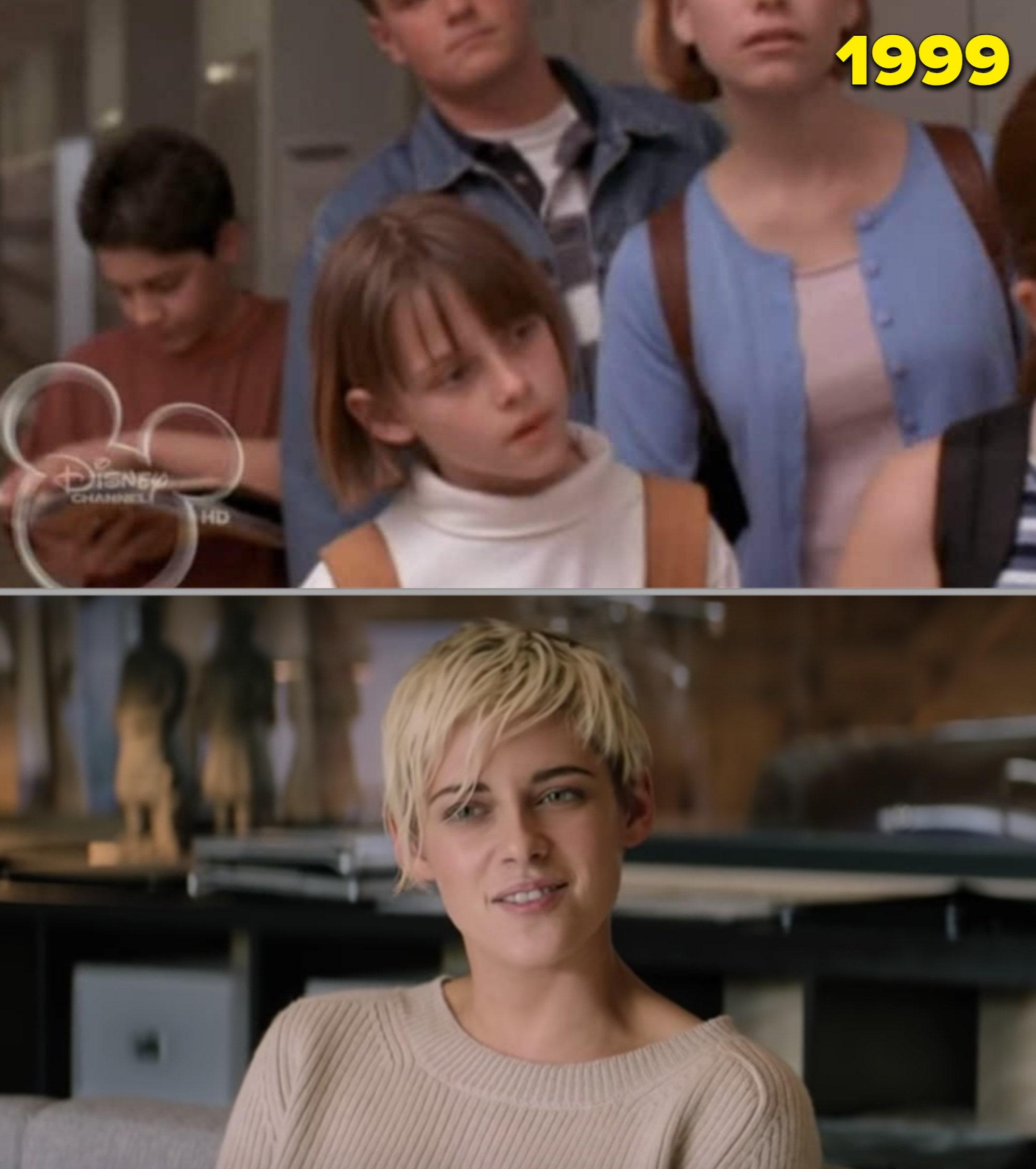 Kristen Stewart criança e adulta numa entrevista