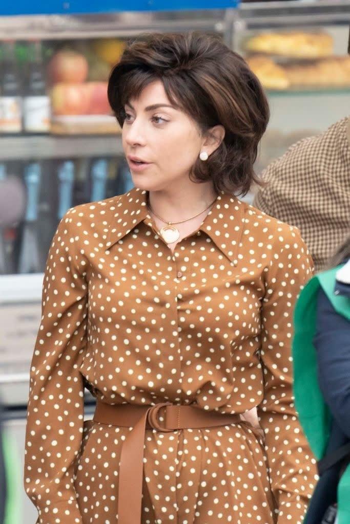 Lady Gaga in a polka dot dress