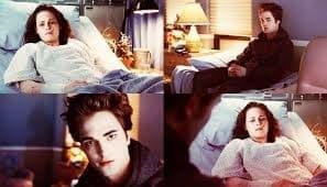 Sequência de prints do filme, com a Bella deitada numa maca de hospital e o Edward sentado próximo dela.