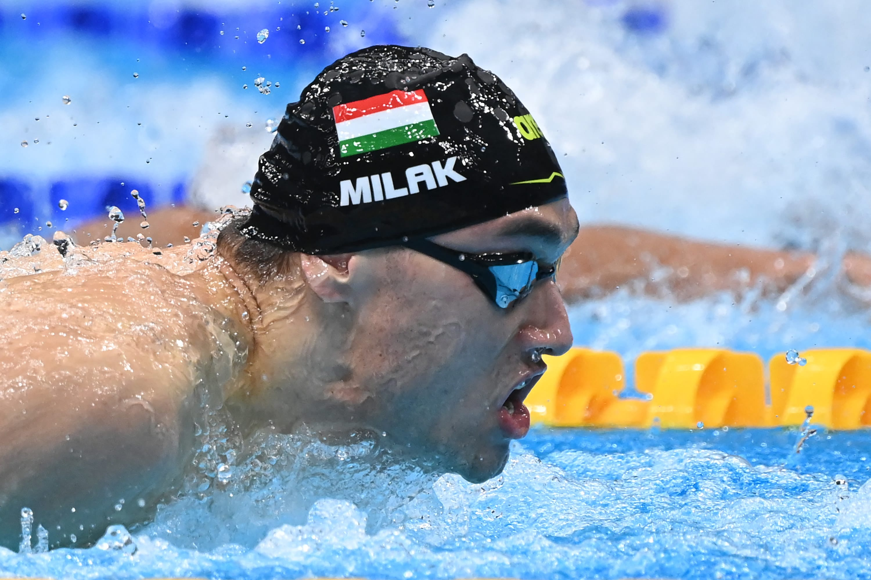A Hungarian swimmer in the pool during a race