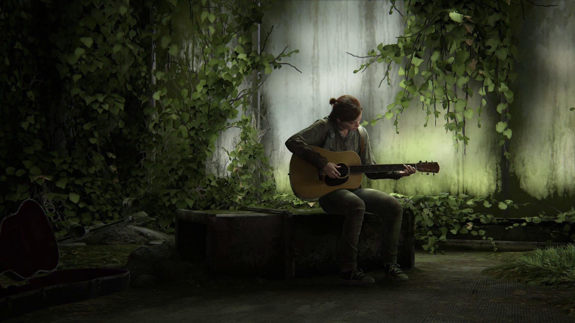 Ellie tocando violão sozinha