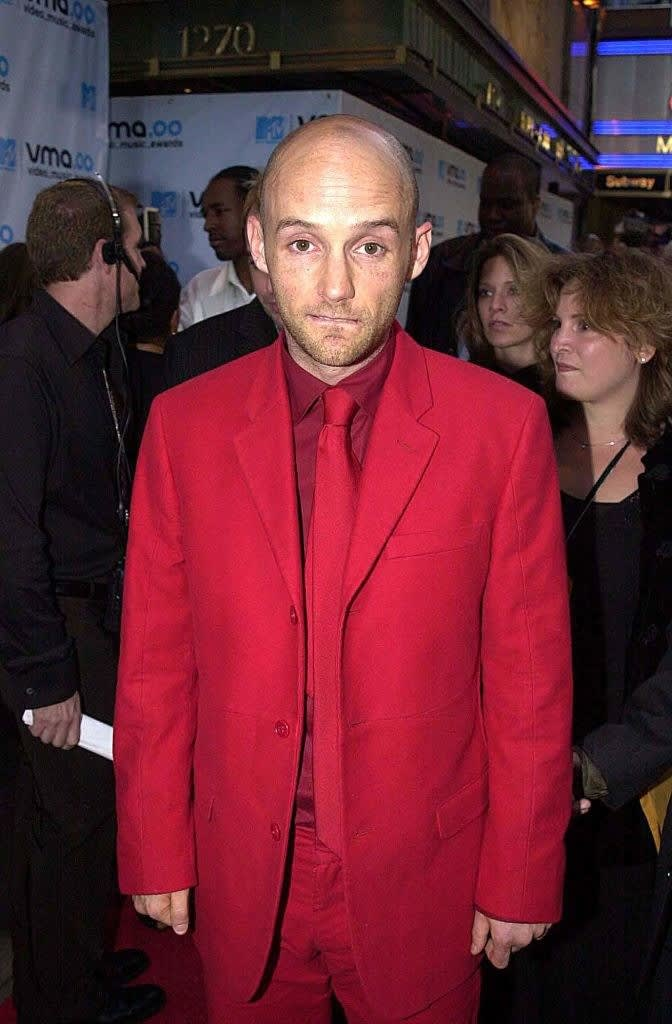 in a red suit at the vmas