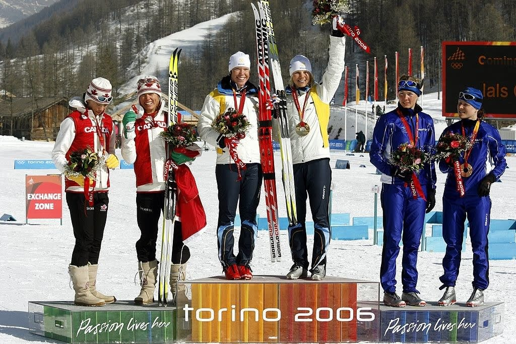 The Canadian team winning silver in Torino
