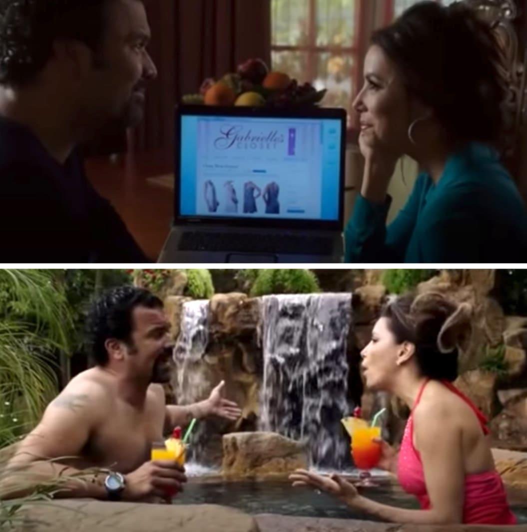 """Gabrielle e Carlos em """"Desperate Housewives"""" no final da série na casa nova deles na Califórnia."""