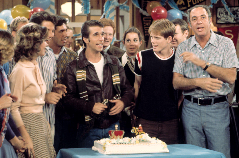"""The Fonz celebrating a birthday on """"Happy Days"""""""