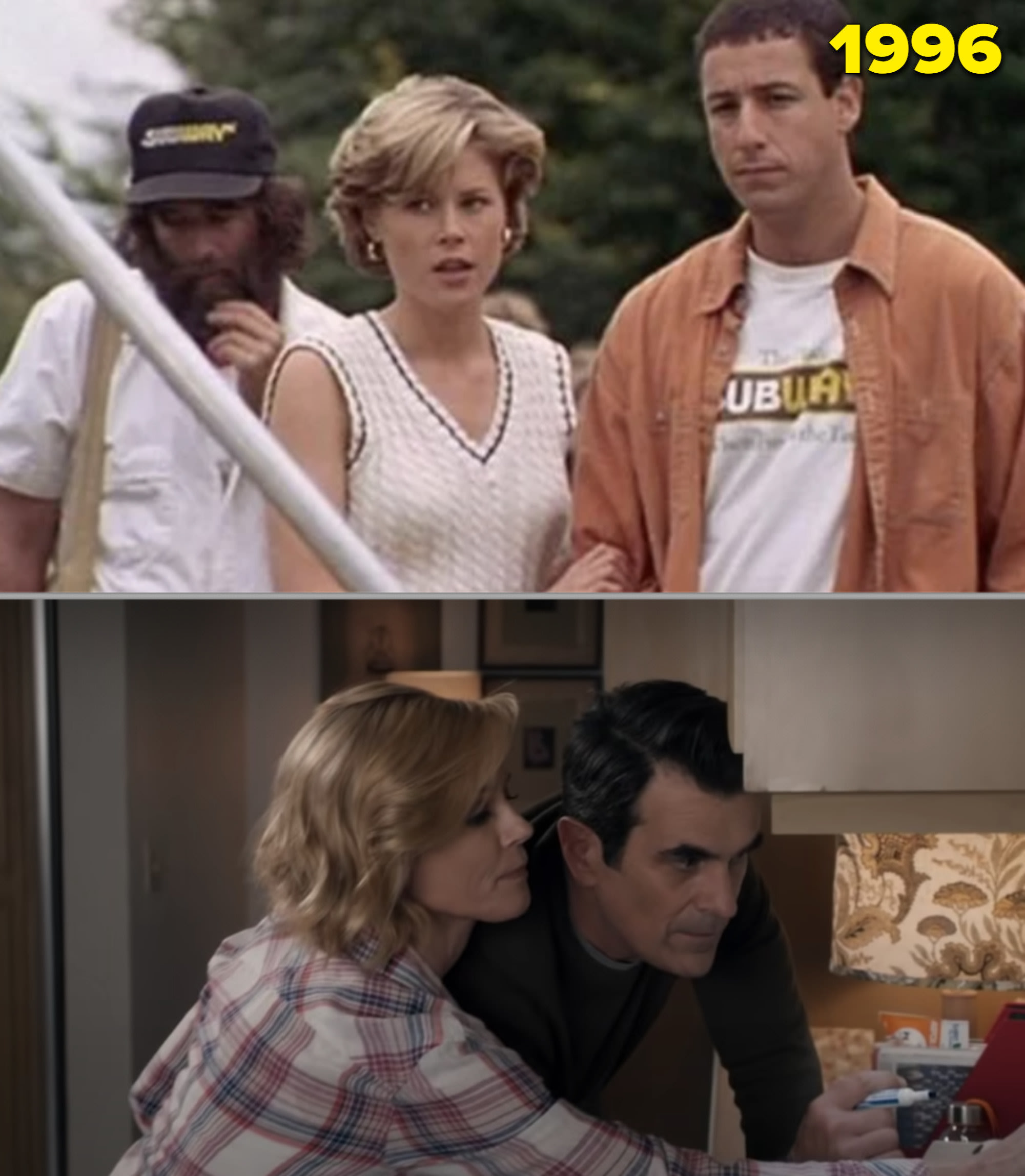 """Julie Bowen em """"Um Maluco no Golfe"""" e como Claire na ultima temporada de """"Modern Family"""""""