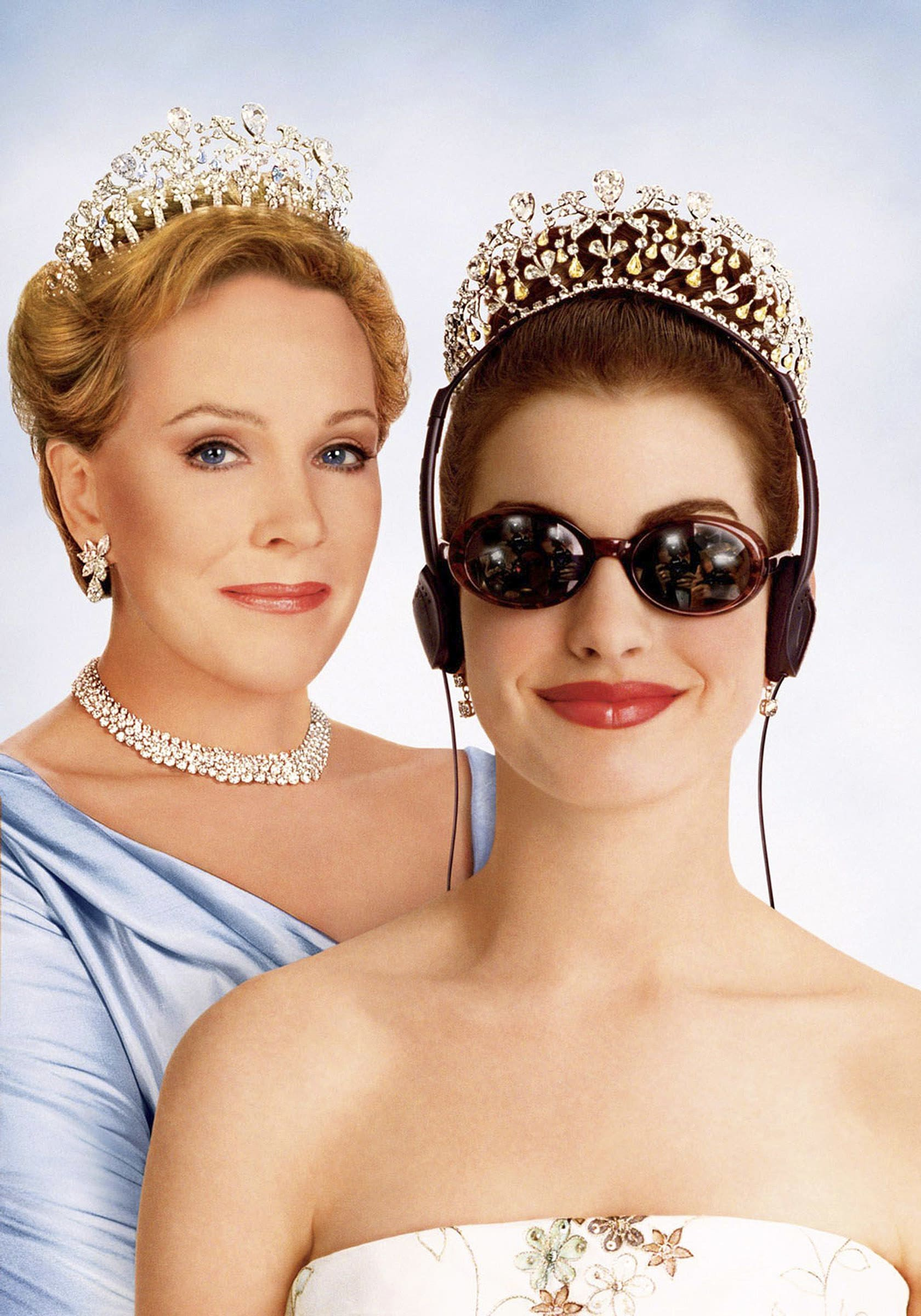 Julie Andrews as the Queen and Anne Hathaway as the princess, with headphones and sunglasses on