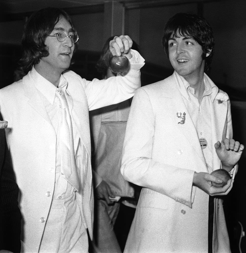 John Lennon and Paul McCartney at an event in the late '60s