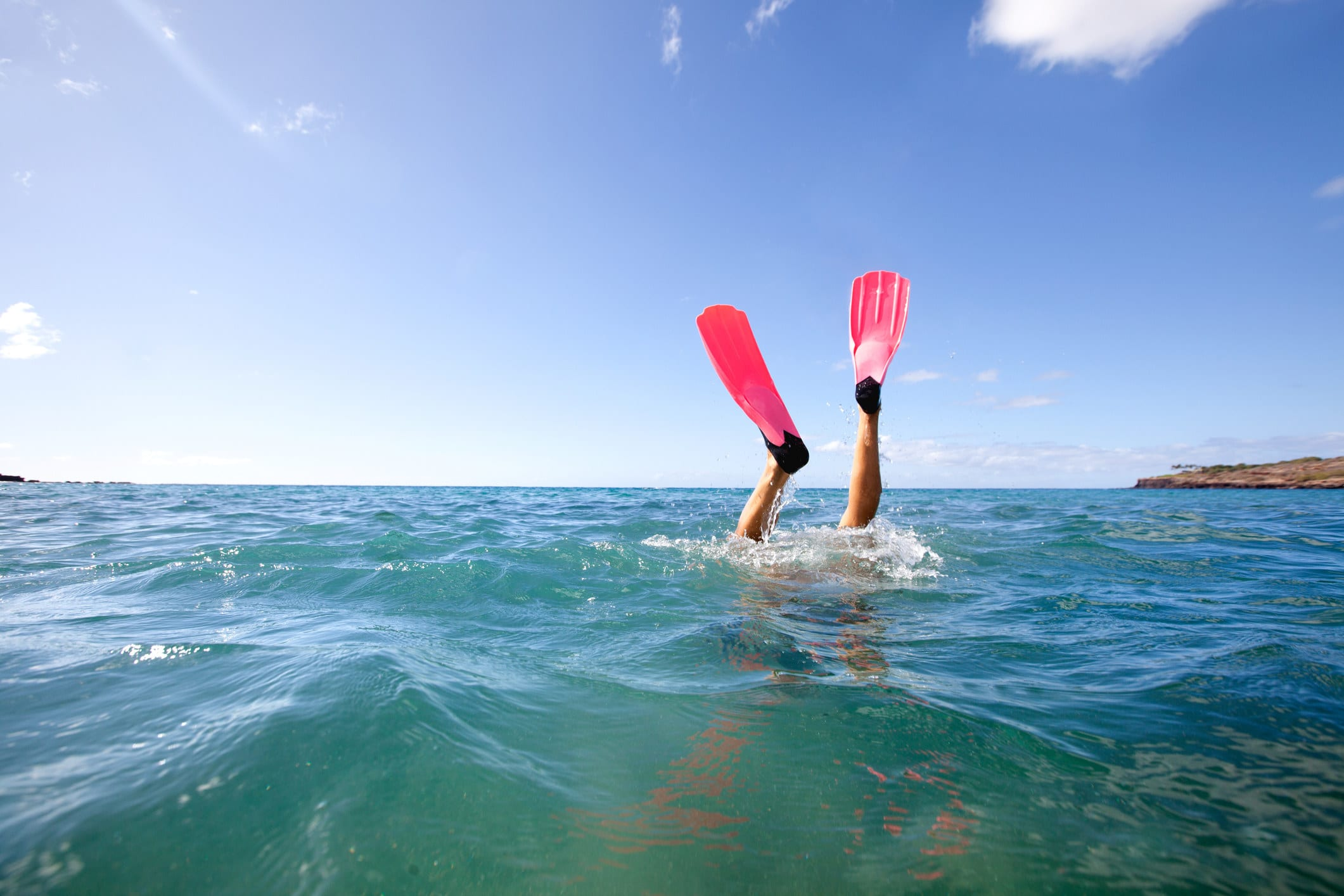 Snorkel fins or flippers showing from snorkeler diving