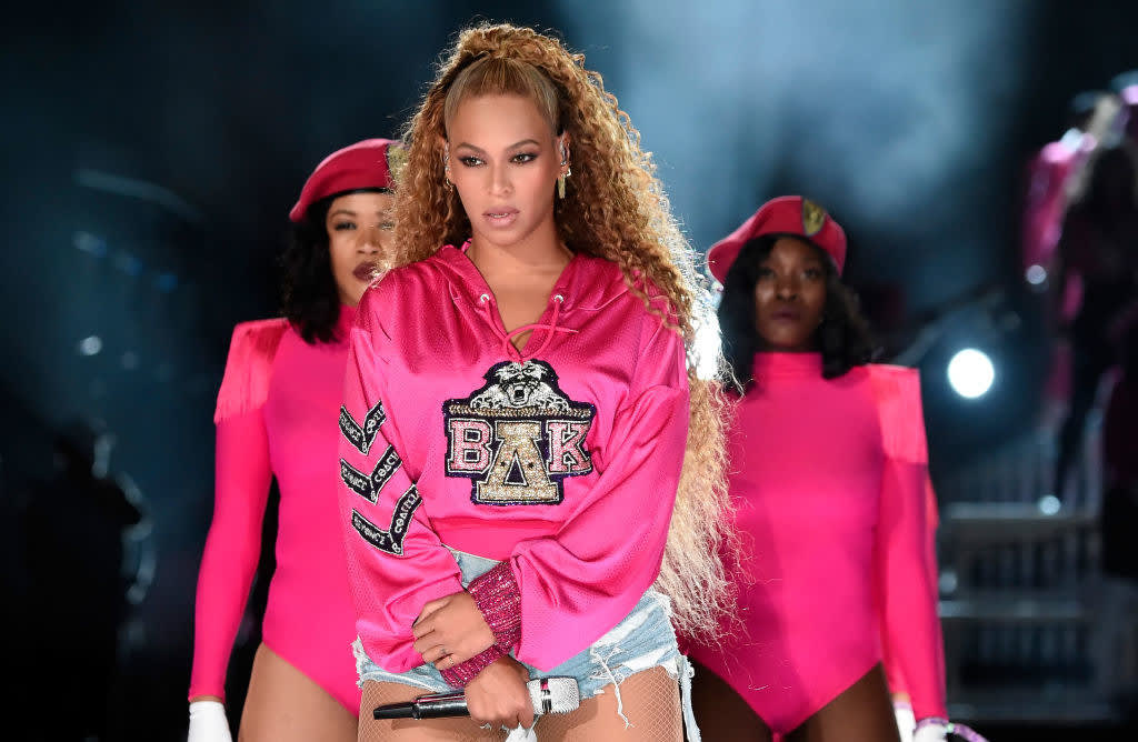 Beyonce performing in her pink look at Coachella