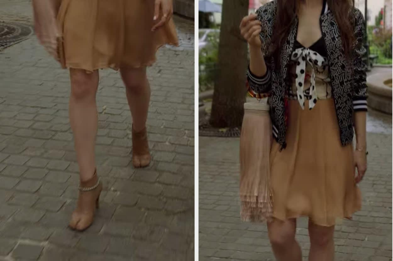 Uma mulher vestindo saia caramelo, jaqueta preta, bolsa de franja e botas que imitam patas de cabelo.