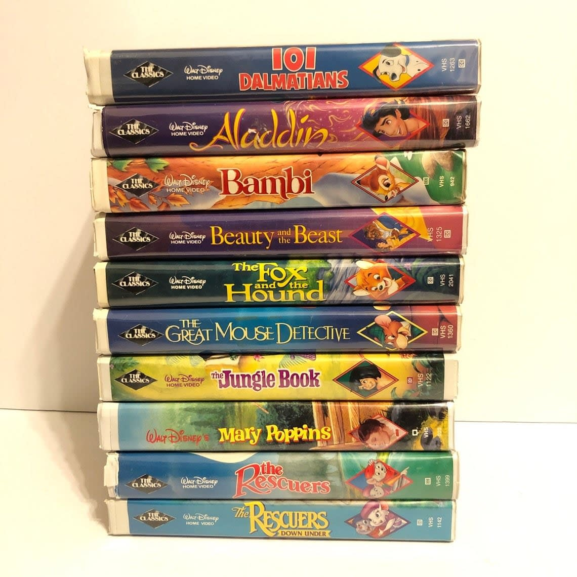 Stacked Disney VHS clam cases