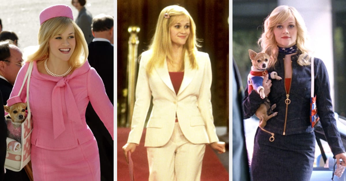 """Reese Witherspoon wearing three different Elle Woods costumes in """"Legally Blonde 2"""""""