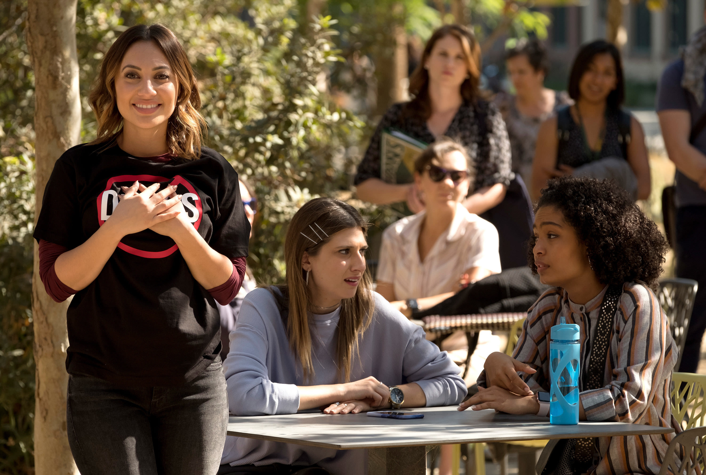 "Francia Raisa, Emily Arlook, and Yara Shahidi in ""Grown-ish"""