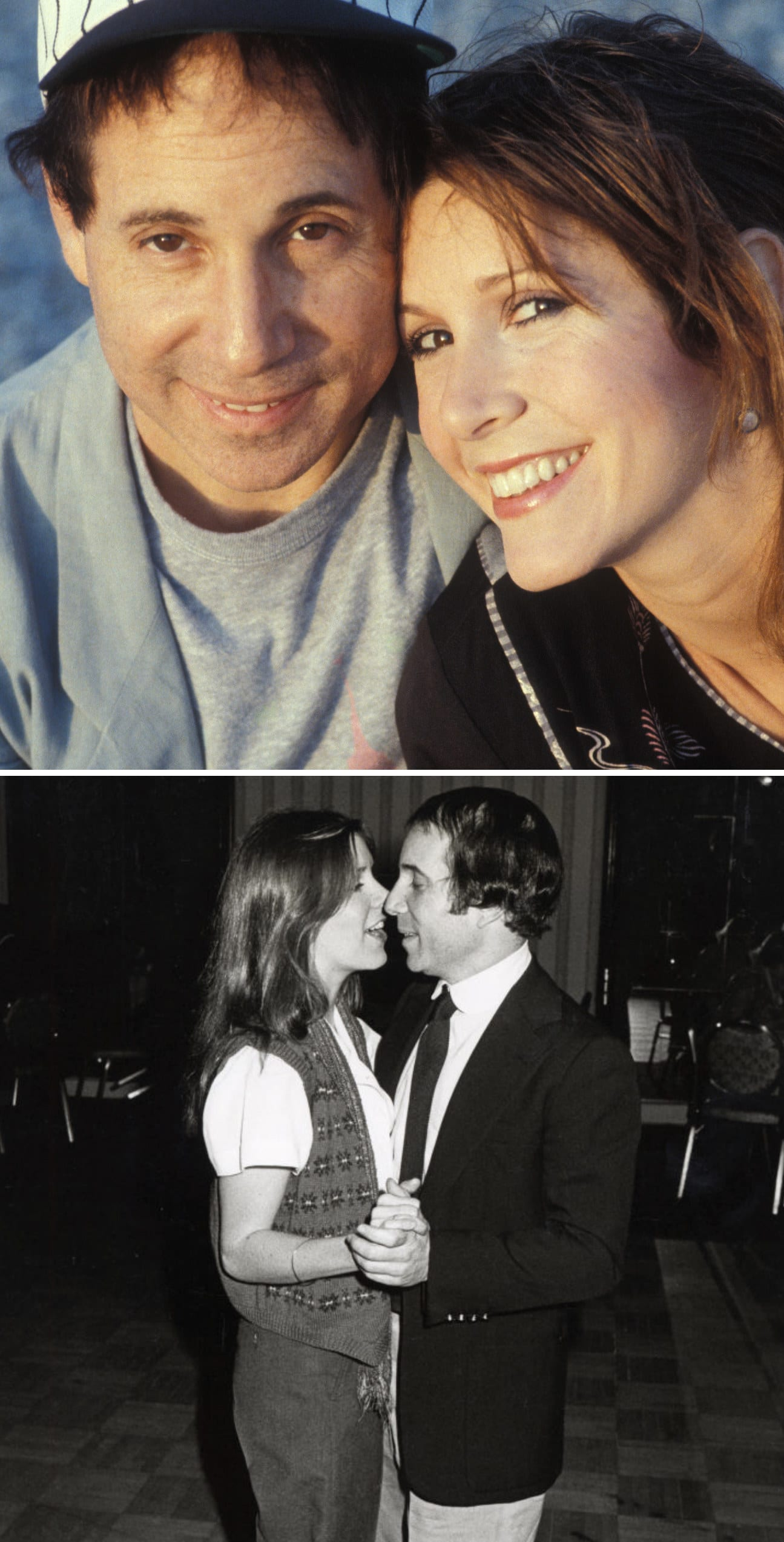 Fisher and Simon posing for a portrait on the beach in 1983; Fisher and Simon dancing at a movie premiere party in 1979