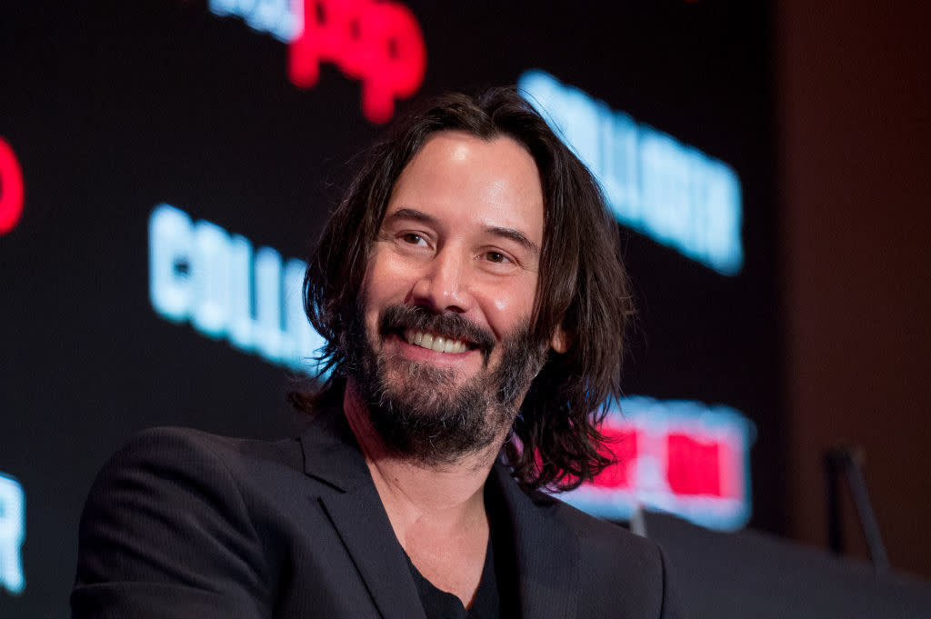 Keanu Reeves doing press for a movie