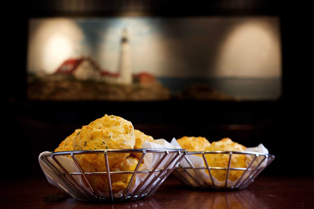 Two baskets of the cheddar biscuits