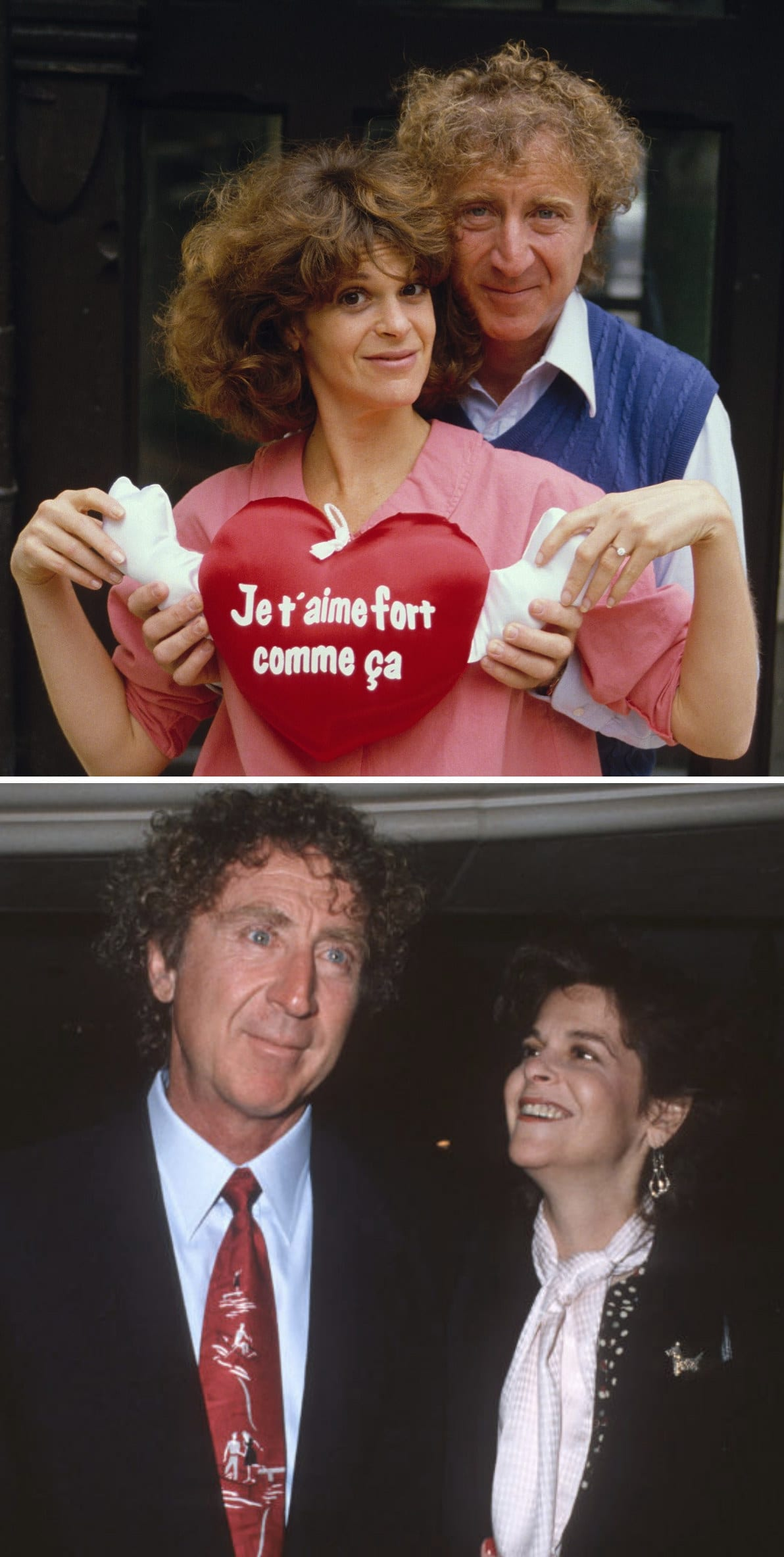 Wilder and Radner posing with a heart-shaped pillow at an event in 1984; Wilder and Radner at a wellness center benefit in 1989