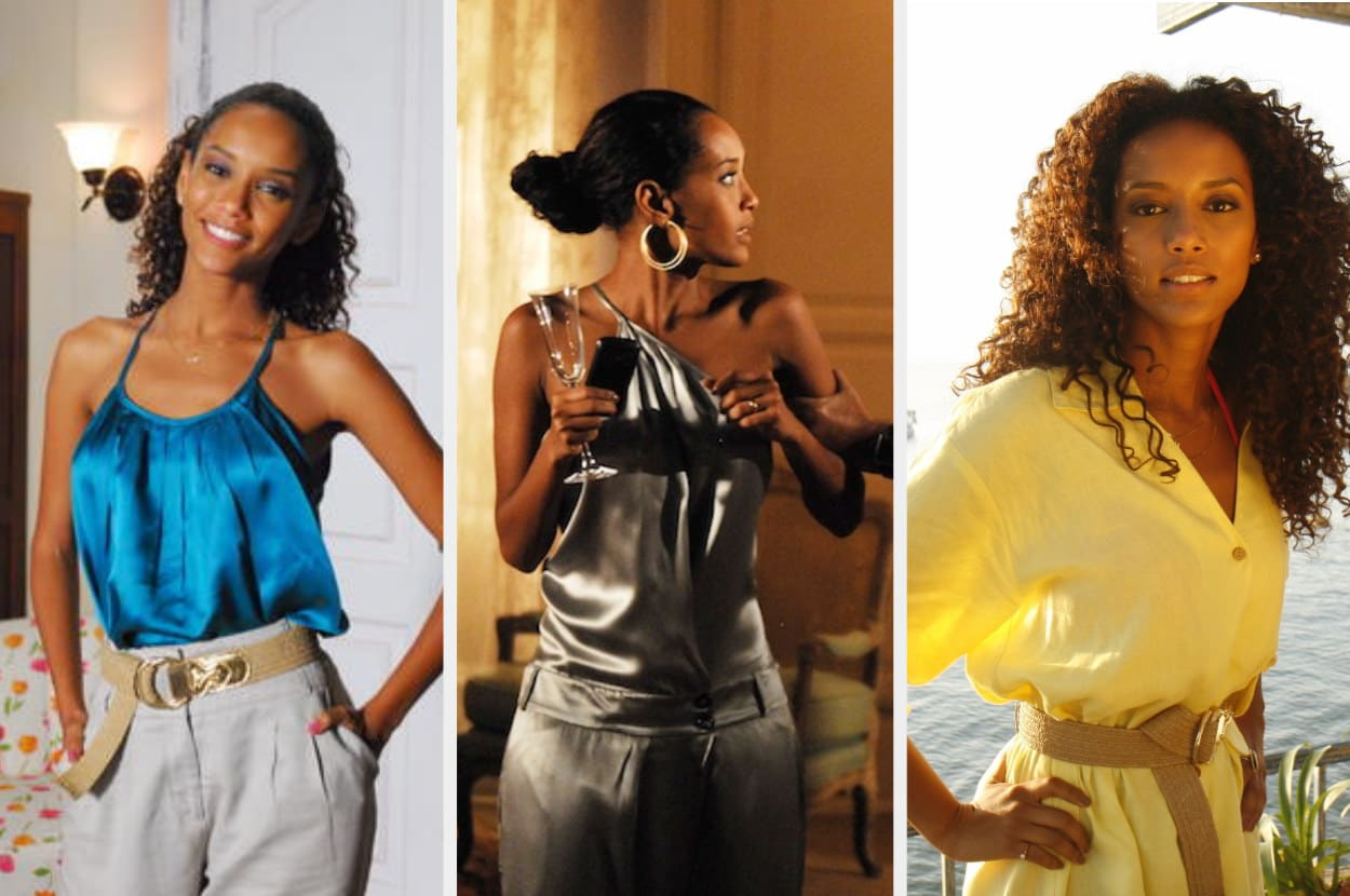 Um montagem com três imagens de uma mulher negra com cabelo cacheado. Na primeira ela usa uma camisa de cetim azul, na segunda um macacão de cetim verde militar e na terceira uma chamise amarela.