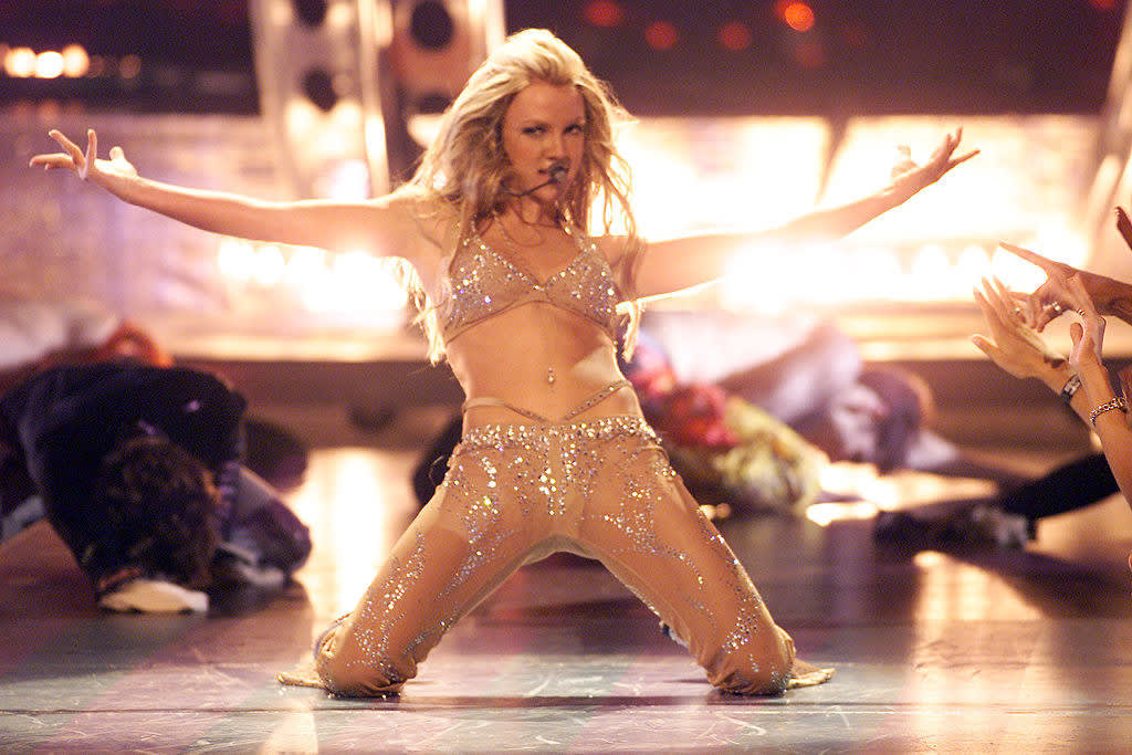 Britney performing in a sheer outfit for the MTV video awards