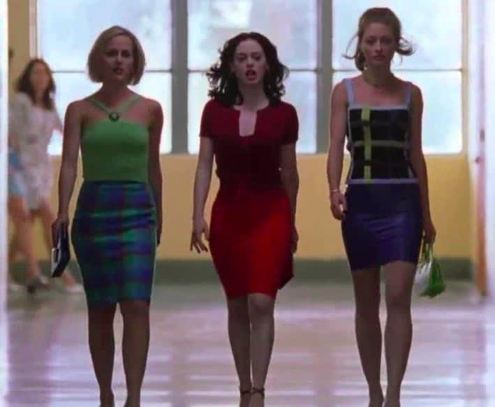 three girls walking in high school