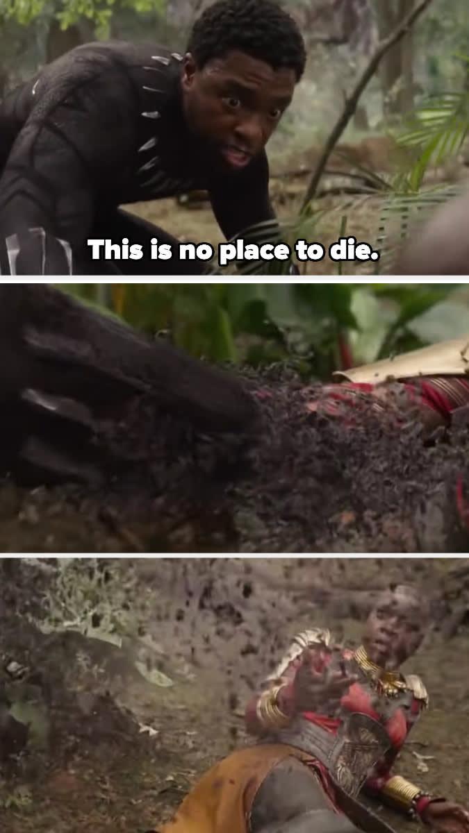 """T'Challa diz """"Este não é um lugar para morrer"""" e vira pó"""