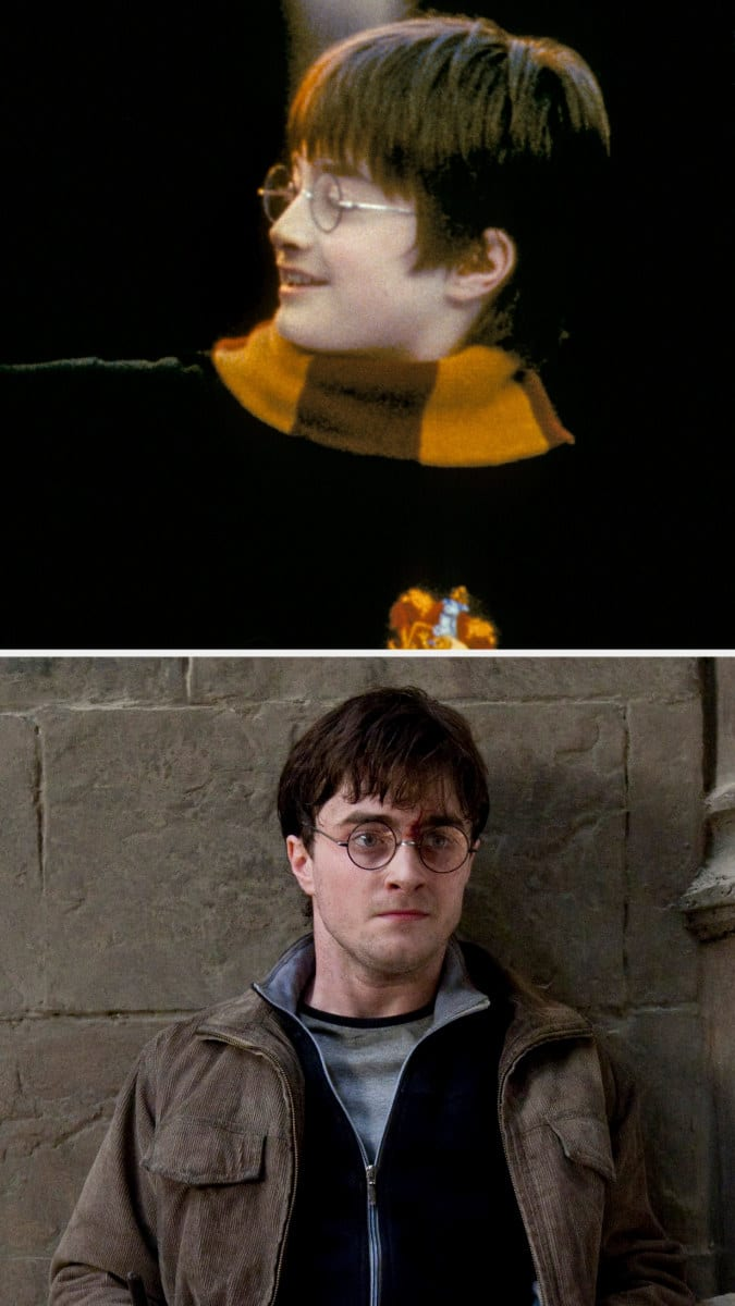 Danielle Radcliffe as Harry Potter wearing round glasses in the first and final films of the franchise