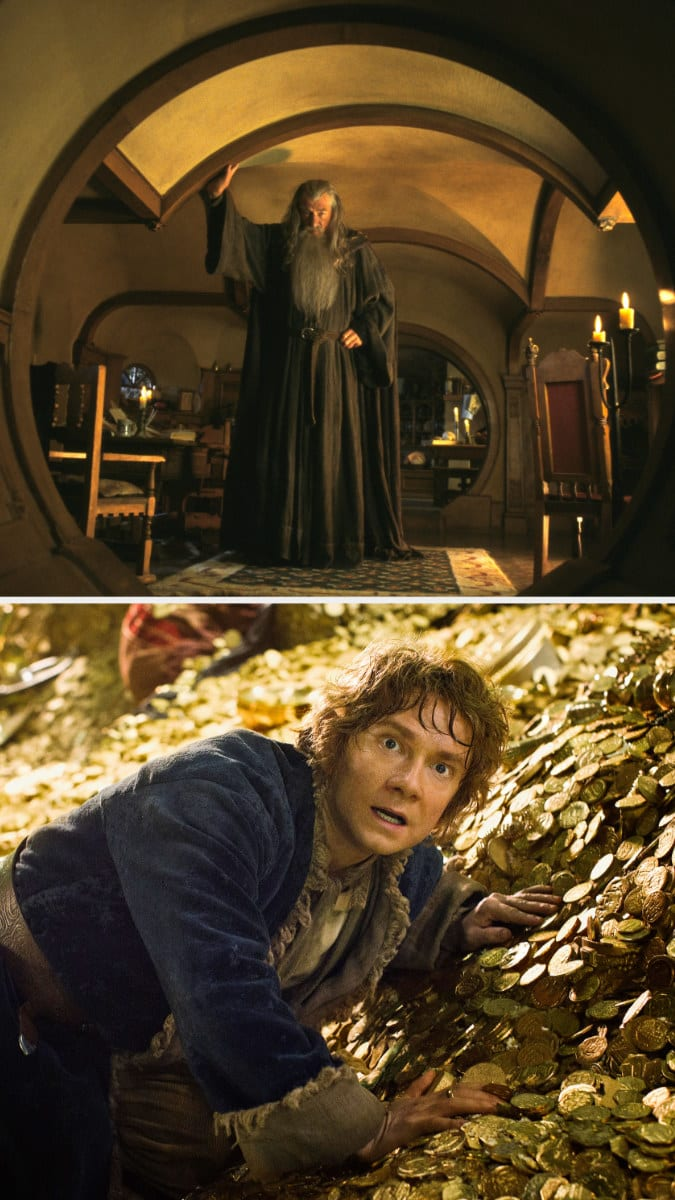 Gandalf in Bilbo's house and Bilbo laying on a pile of gold coins