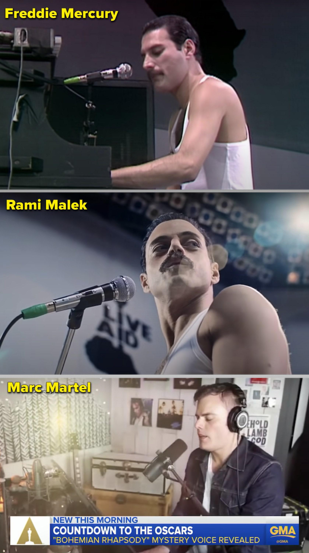 Freddie, Rami, and Marc all singing separately