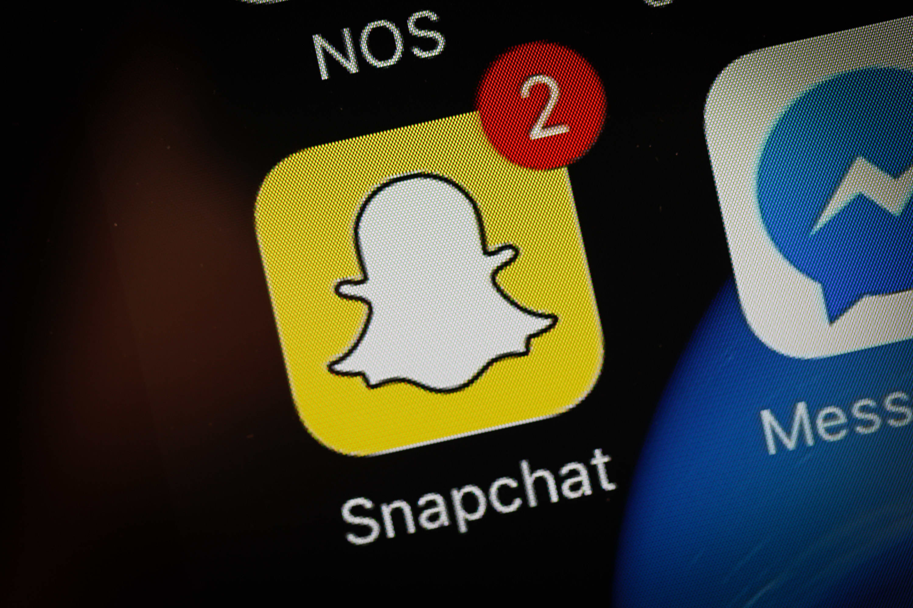 The Snapchat app on a phone screen