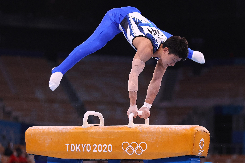 A Japanese gymnast on the pommel horse