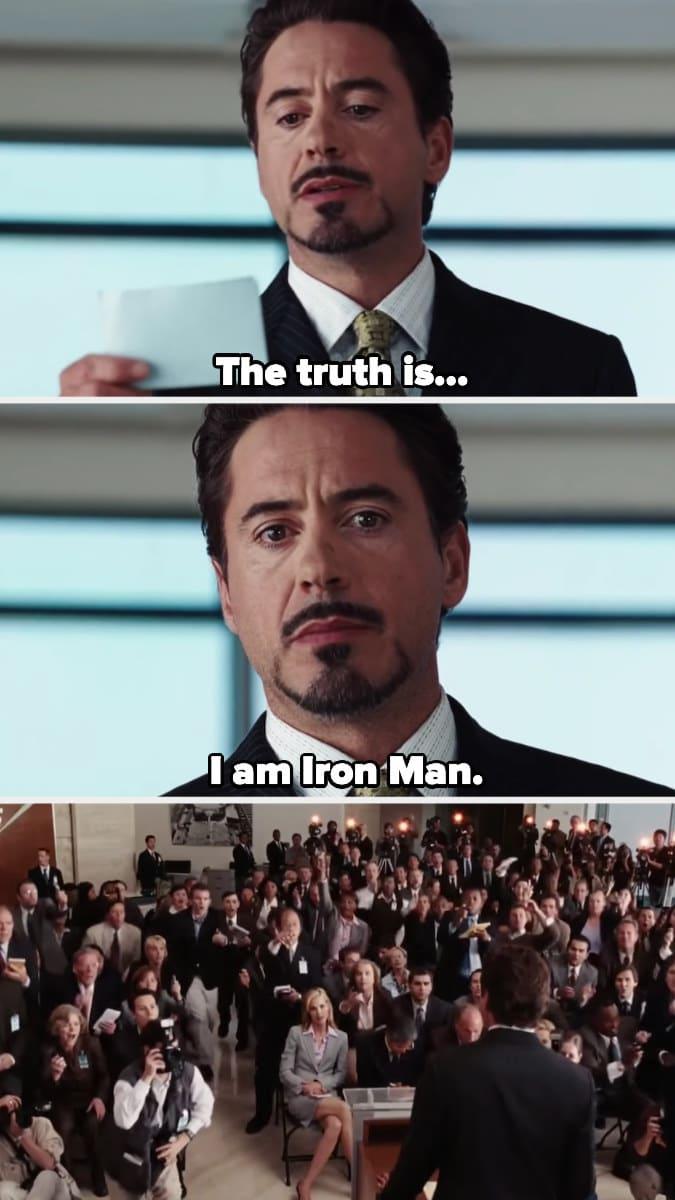 Tony Stark revela que é o homem de ferro numa sala cheia de jornalistas