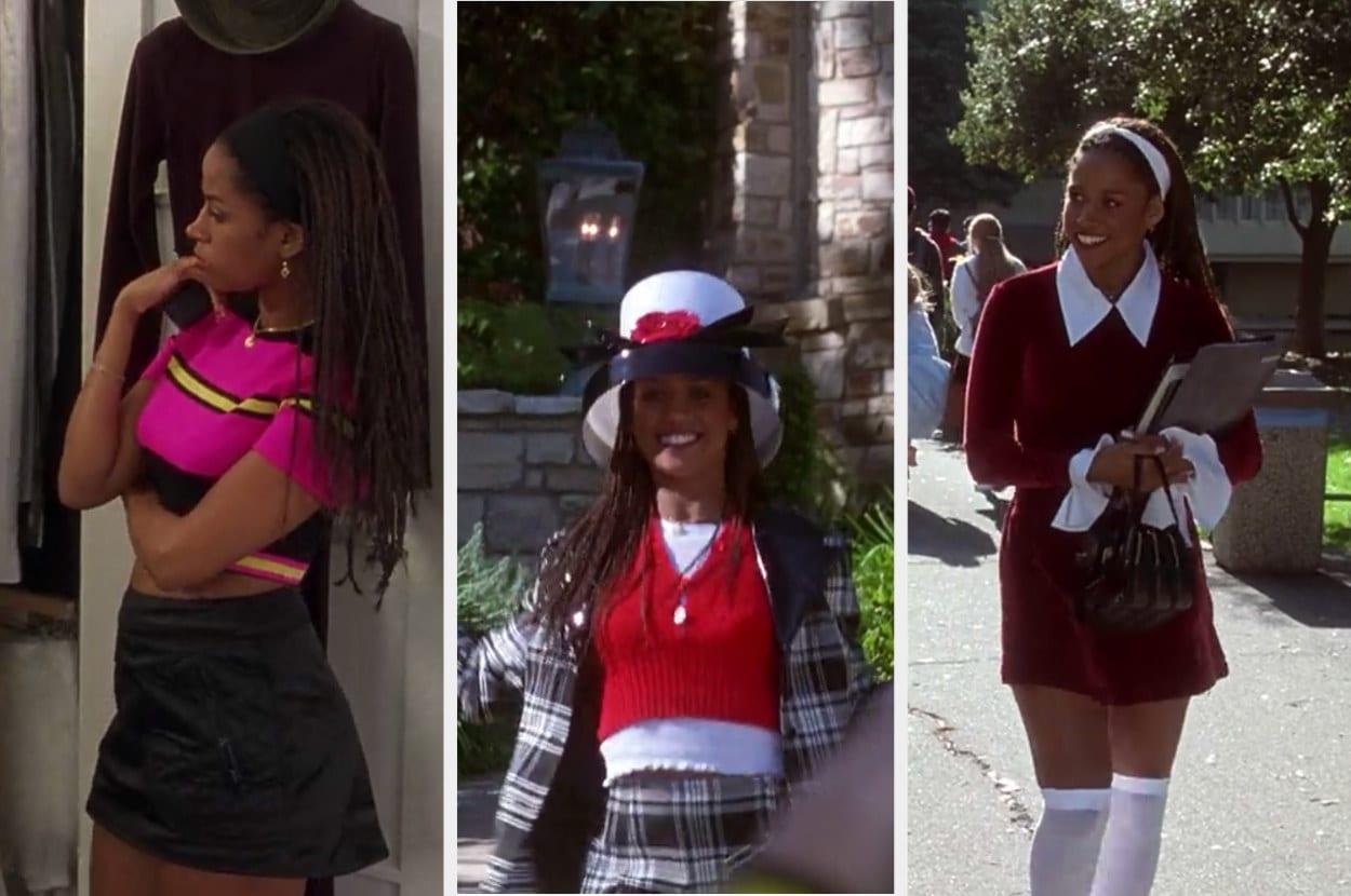 Um montagem com três imagens de uma mulher negra, com tranças no cabelo. Na primeira ela veste uma saia preta e um top rosa, na segunda ela veste um conjunto de terno xadrez e chapéu. Na terceira foto ela veste um vestido bordô.
