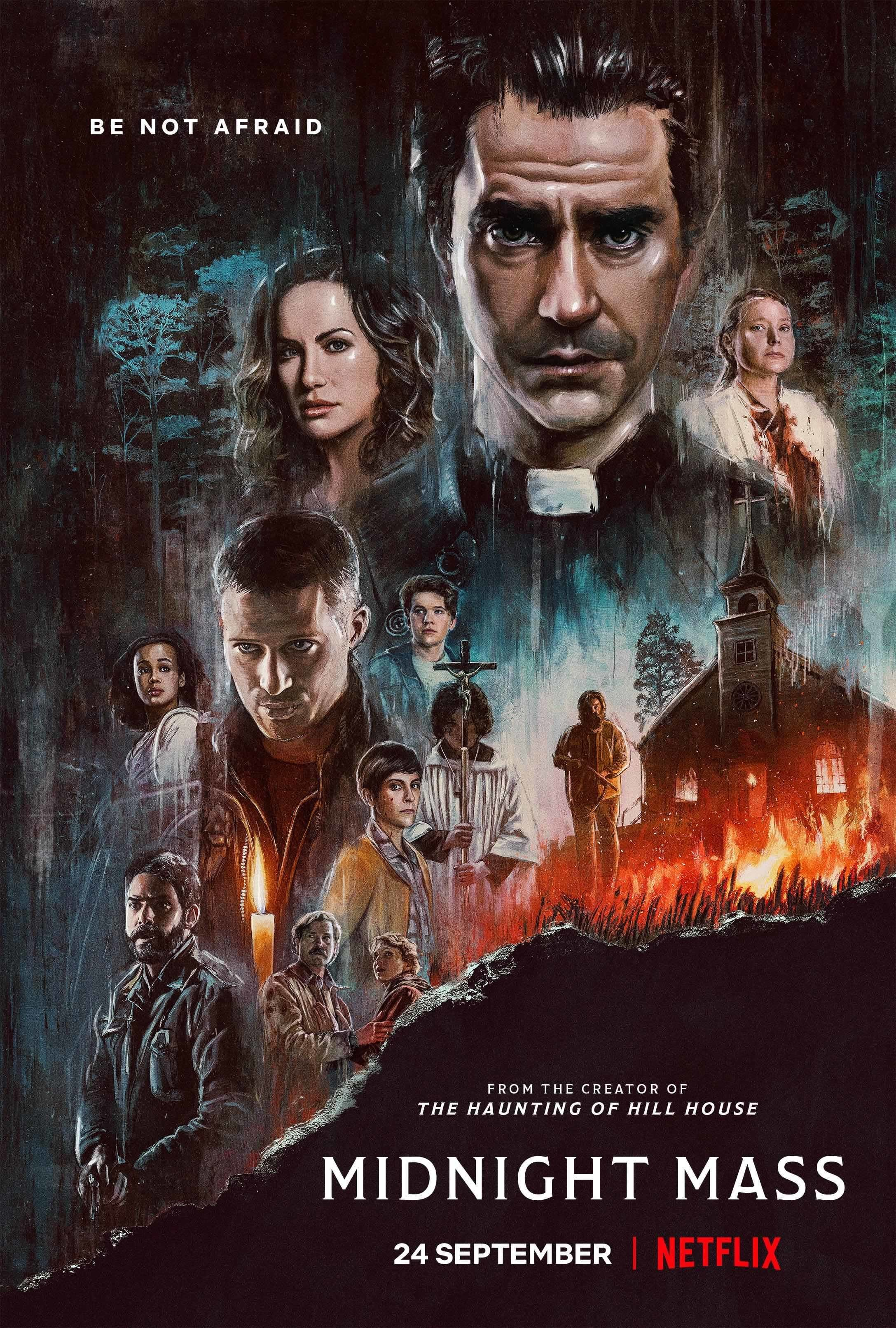 Illustrated poster for Midnight Mass featuring the cast and brush on fire