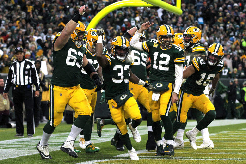 The Green Bay Packers on the football field