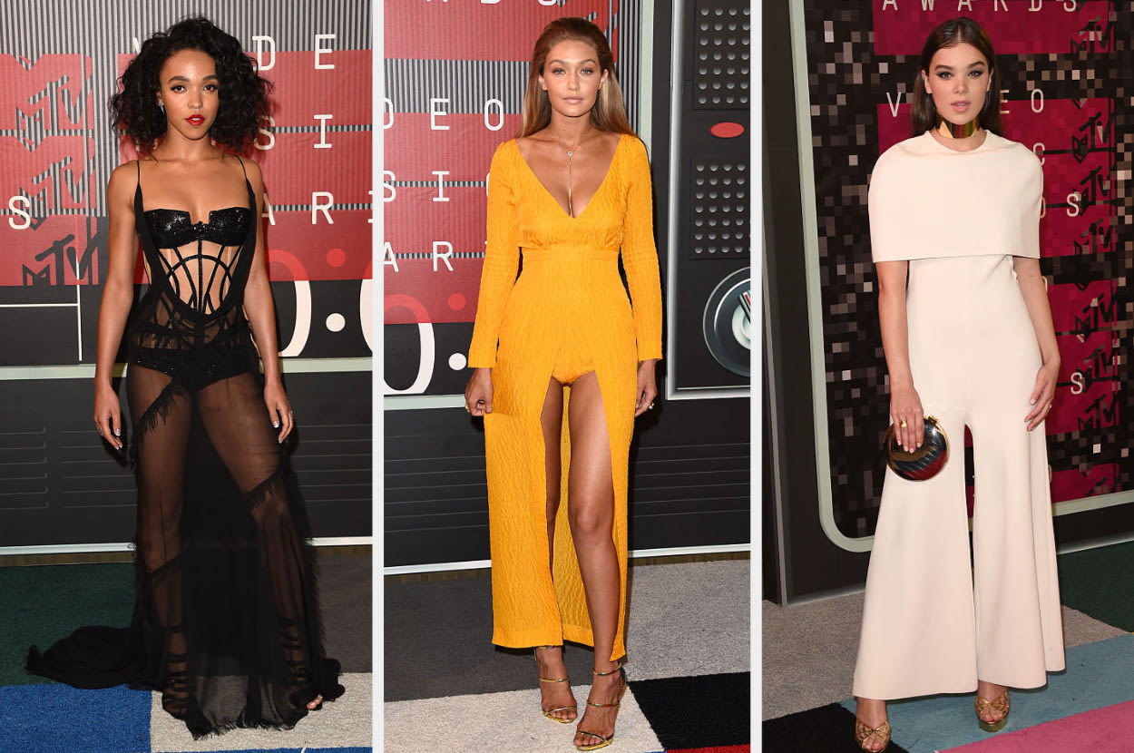 FKA wears a cut-out sheer gown, Gigi wears a bright dress with a front slit revealing a bodysuit underneath, Hailee wears a sophisticated pantsuit