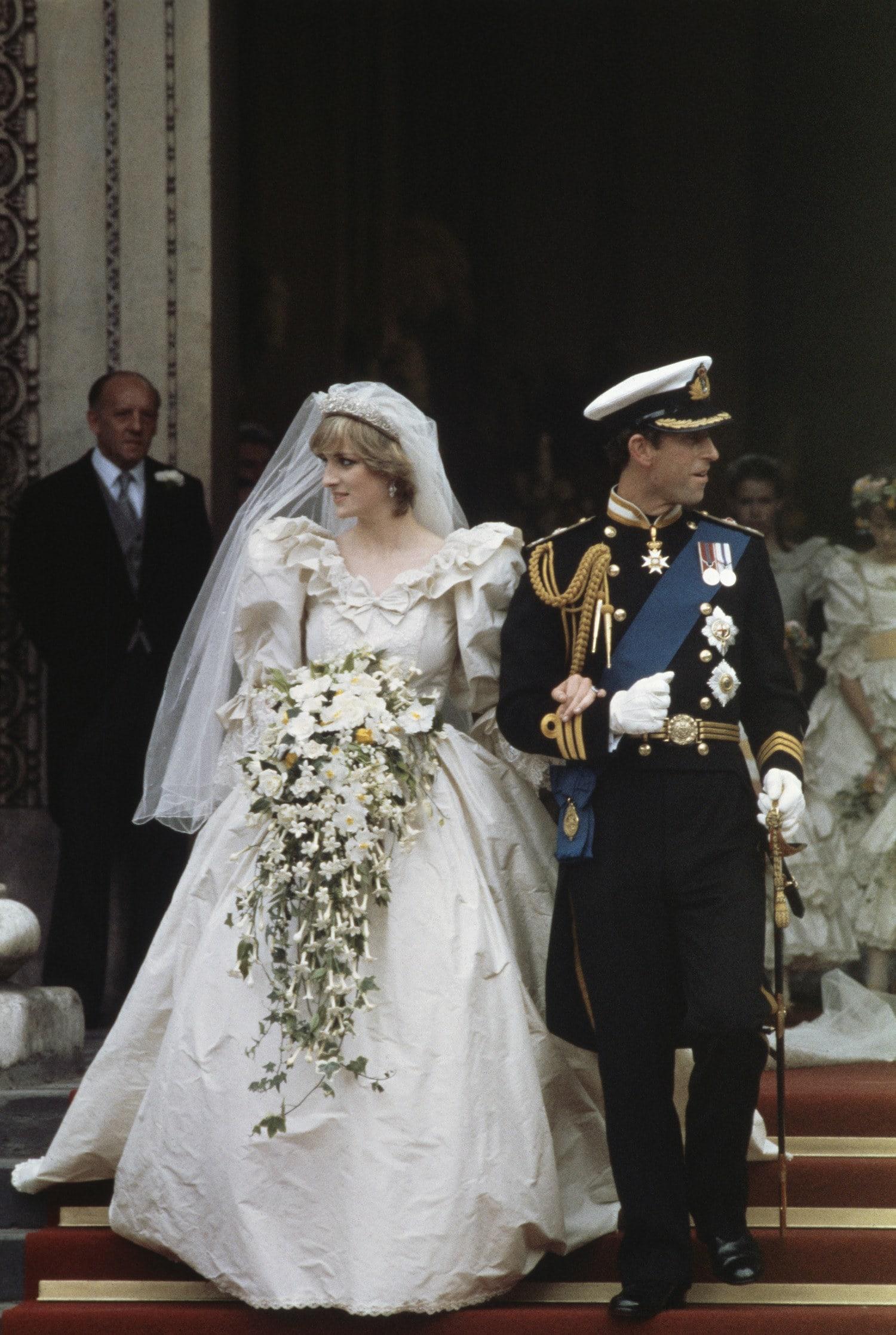 Lady Diana Spencer (1961 - 1997) in her wedding dress designed by David and Elizabeth Emanuel.