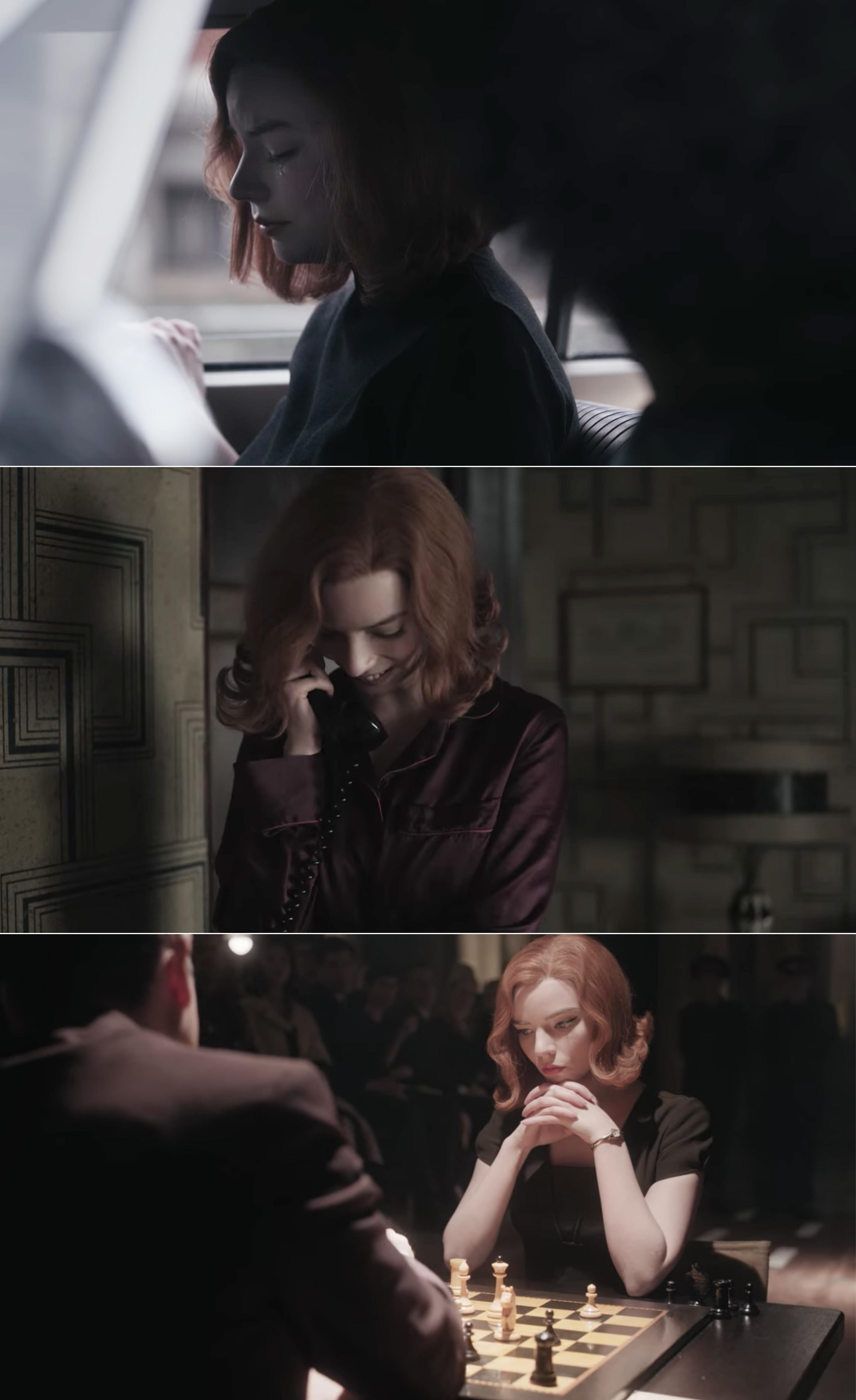 Cena de Beth triste, cena de Beth feliz conversando no telefone e cena de Beth concentrada numa partida de xadrez